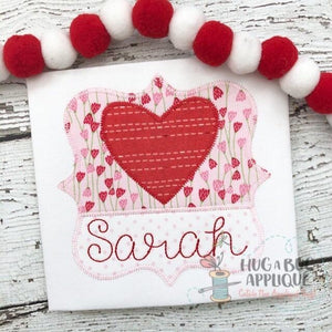 Heart Split Frame Zig Zag Stitch Applique Design, Applique