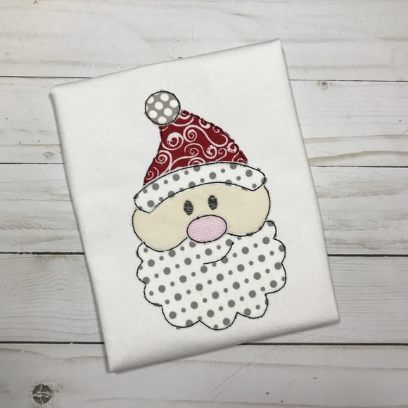 Santa Face Bean Stitch Applique Design, Applique