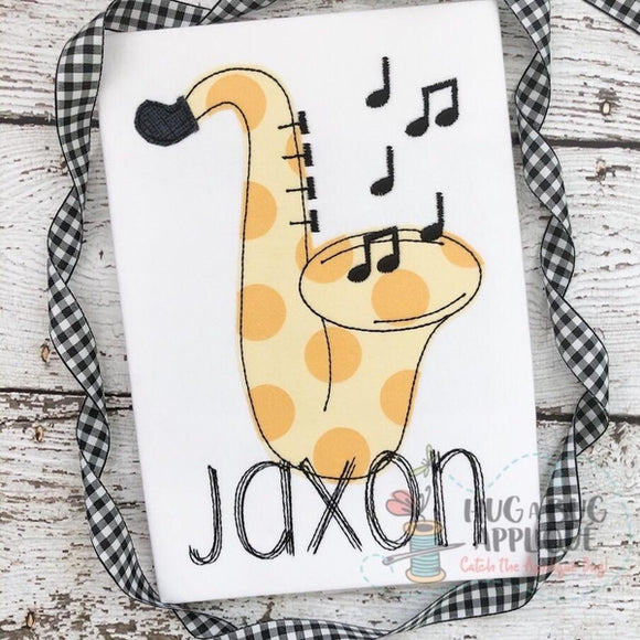 Saxophone Bean Stitch Applique Design, Applique