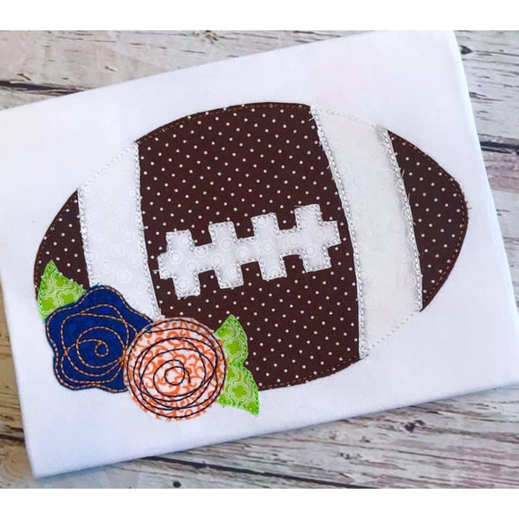 Football Flowers Bean Stitch Applique Design, Applique