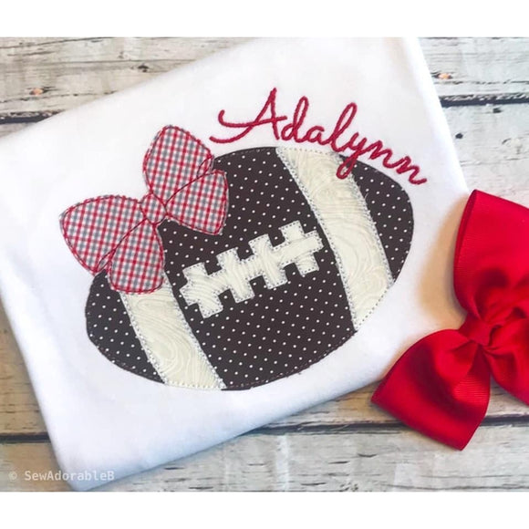 Football Bow Bean Stitch Applique Design, Applique