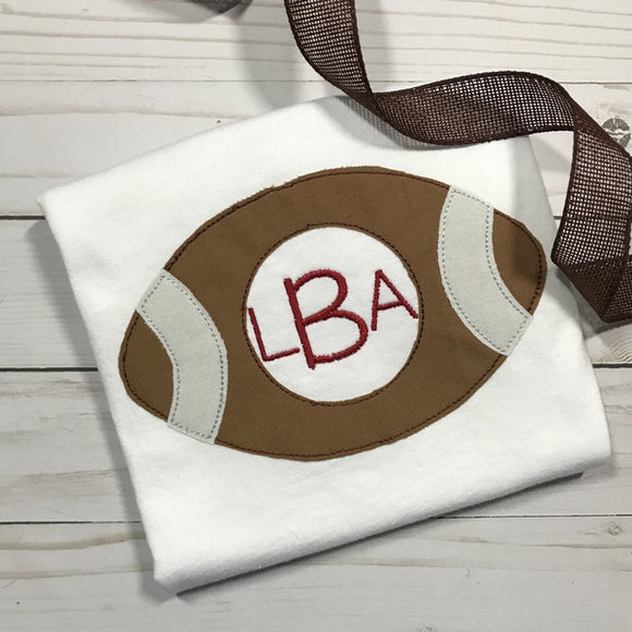 Football Monogram Bean Stitch Applique Design, Applique