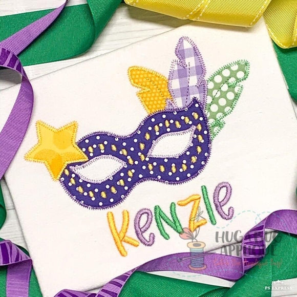 Mardi Gras Feathers Mask Zig Zag Stitch Applique Design, Applique