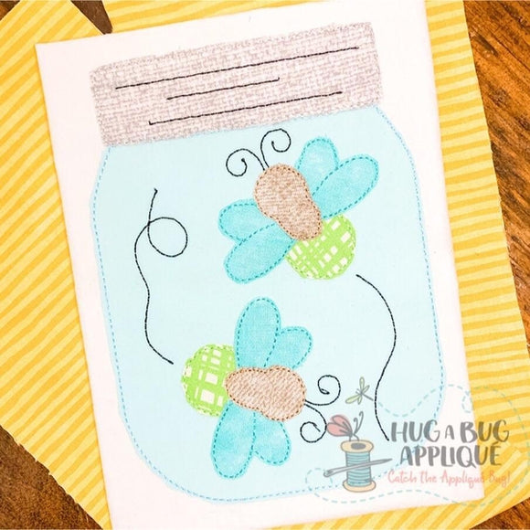 Lightning Bug Jar Bean Stitch Applique Design, Applique