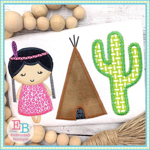 Indian Girl Trio Applique