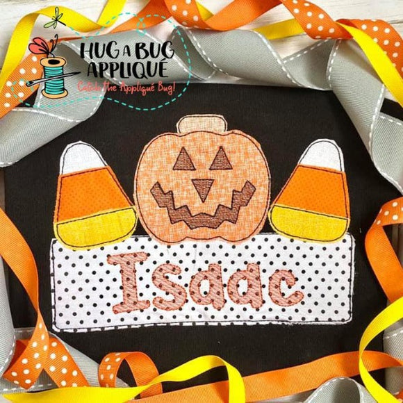 Jackolantern Candy Box Bean Stitch Applique Design, Applique