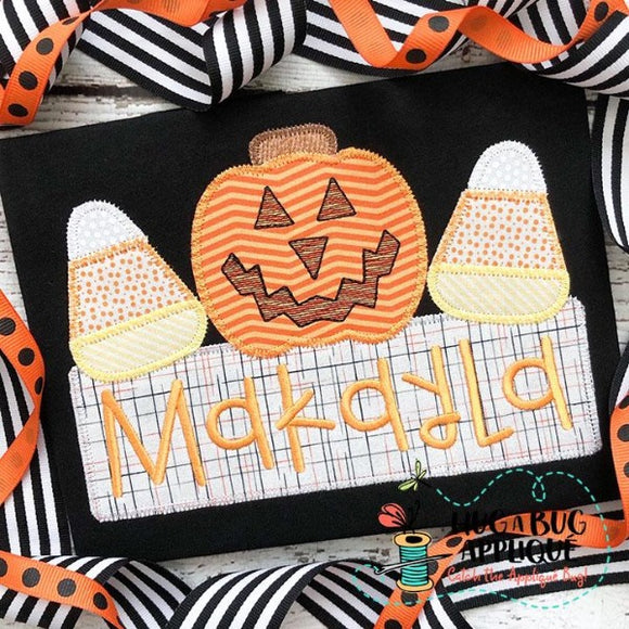Jackolantern Candy Box Zig Zag Stitch Applique Design, Applique