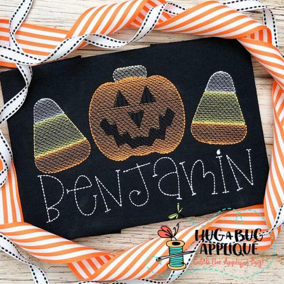 Jackolantern Candy Trio Sketch Stitch Embroidery Design, Embroidery