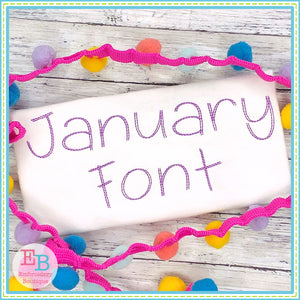 January Embroidery Font-Embroidery Boutique