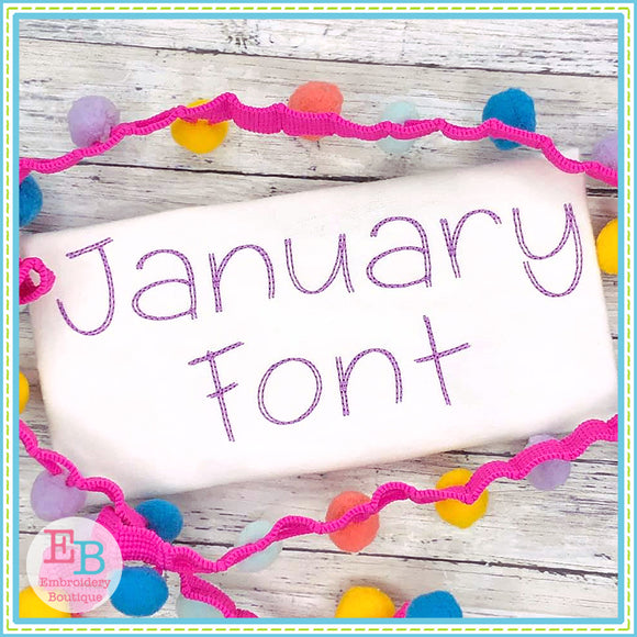 January Embroidery Font, Embroidery Font