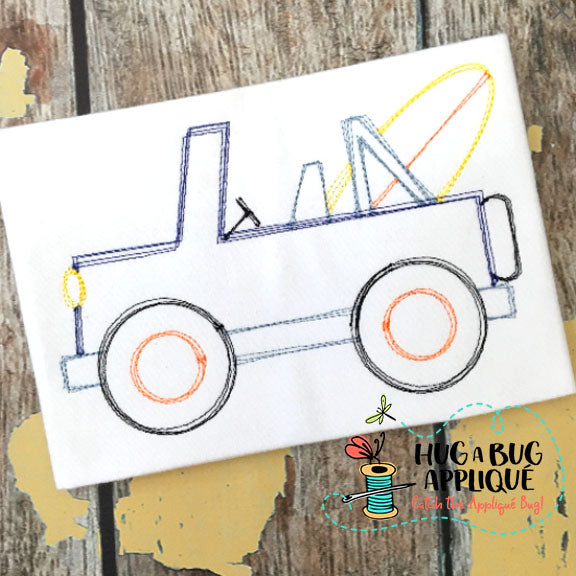 Jeep Surf Board Scribble Stitch Embroidery Design-Embroidery Boutique