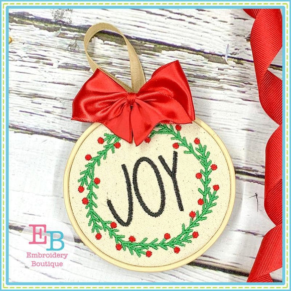 Joy Wreath Embroidery Design, Embroidery