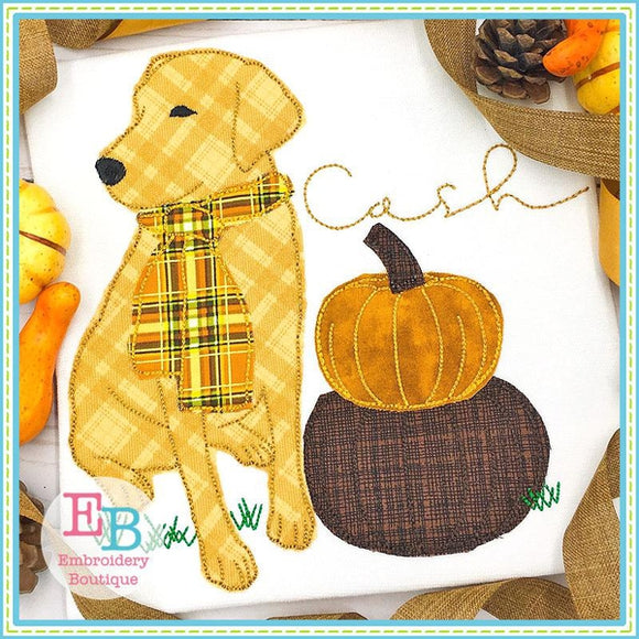 Lab Pumpkins Applique, Applique