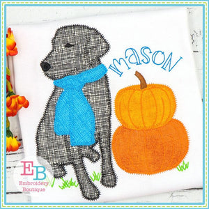 Lab Pumpkins Zigzag Applique, Applique