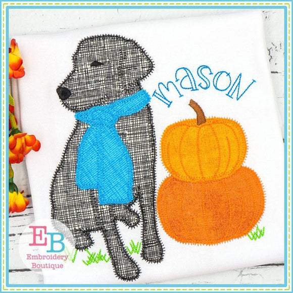 Lab Pumpkins Zigzag Applique