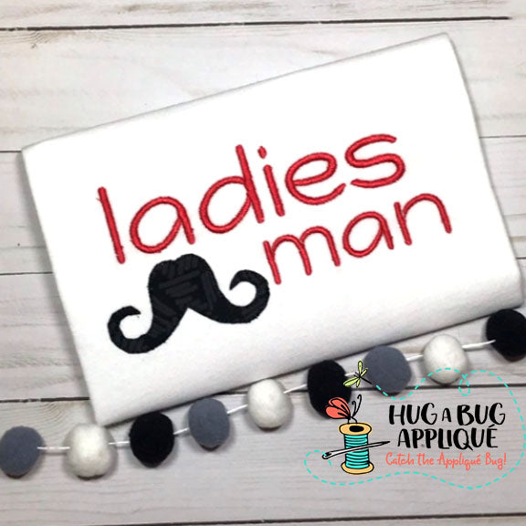 Ladies Man Bean Applique, Applique