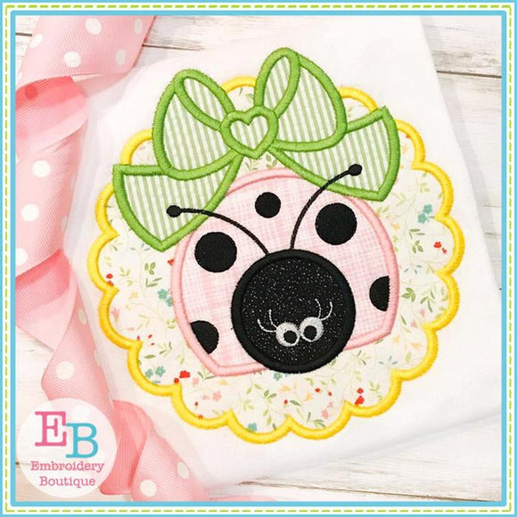 Scallop Ladybug Big Bow Applique