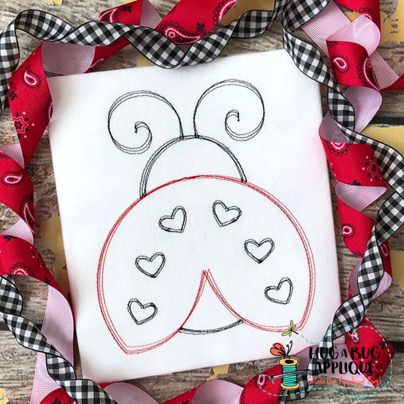 Ladybug Scribble Stitch Embroidery Design-Embroidery Boutique