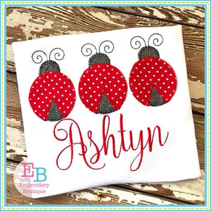 Ladybug Trio Blanket Stitch Applique, Applique