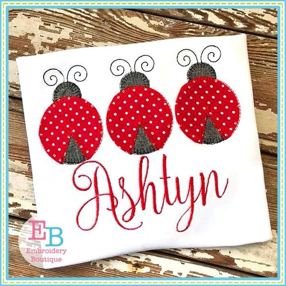 Ladybug Trio Blanket Stitch Applique - Embroidery Boutique