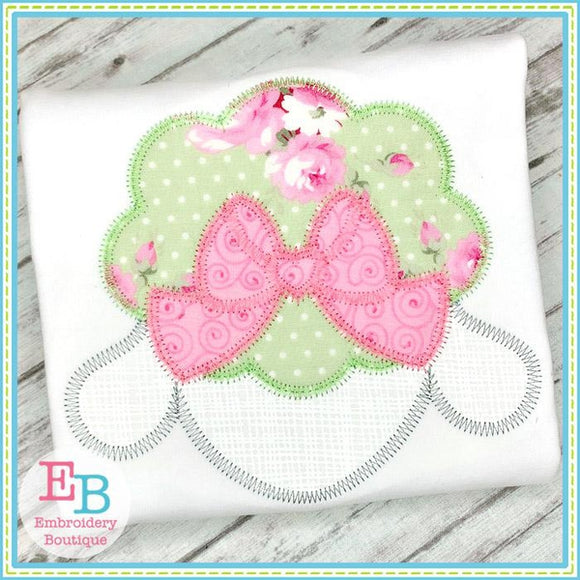 Lamb Bow Zigzag Applique