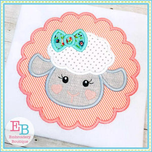 Little Lamb Girl Face Applique