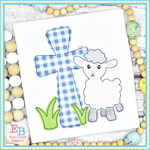 Lamb Cross Grass Bean Stitch Applique, Applique