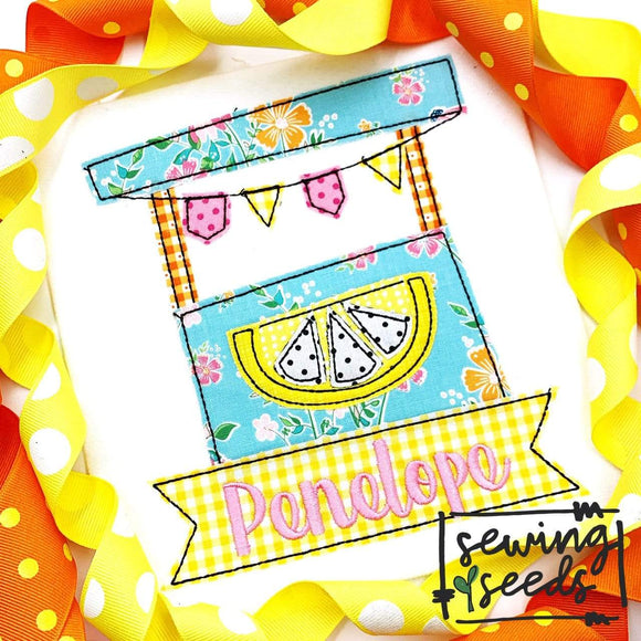 Lemonade Stand with Name Banner Applique SS - Sewing Seeds