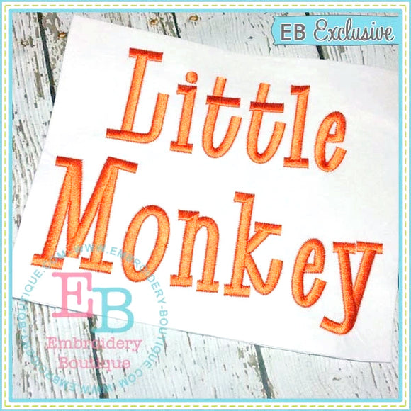 Little Monkey Embroidery Font, Embroidery Font