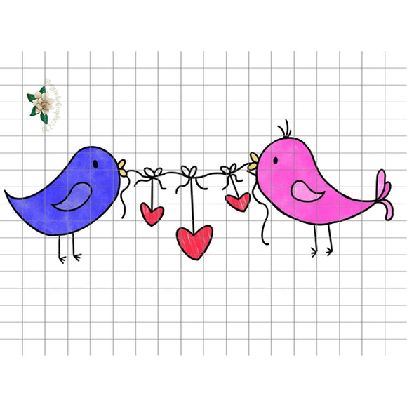 Love Birds Valentine PNG Printable Design - embroidery-boutique