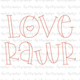 Love Rawr Bean Stitch Applique Font, Applique Alphabet