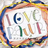 Love Rawr Bean Stitch Applique Font-Embroidery Boutique