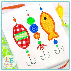 3 Fishing Lures Applique