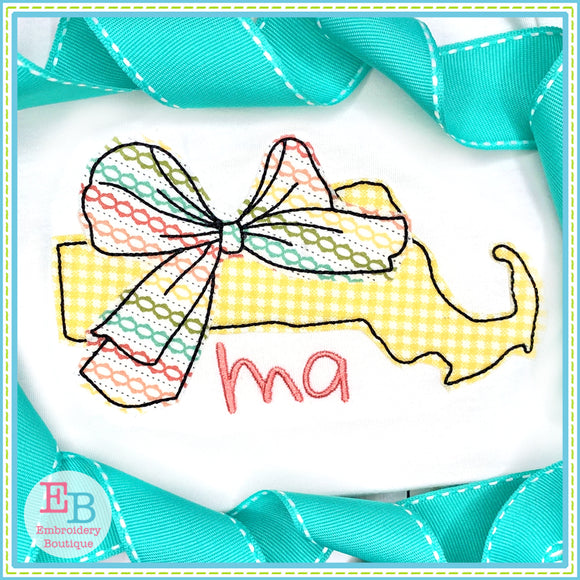 Big Bow Massachusetts Bean Stitch Applique, Applique