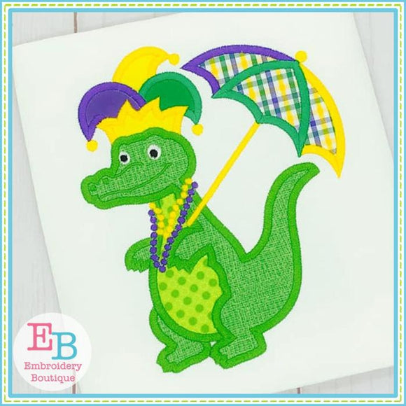Gator Mardi Gras Applique - embroidery-boutique