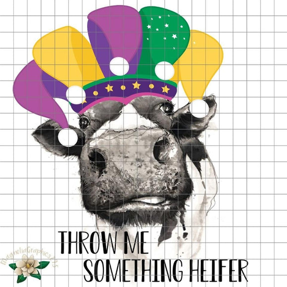 Throw Me Something Heifer Mardi Gras PNG Printable Design