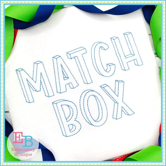 Match Box Embroidery Font, Embroidery Font