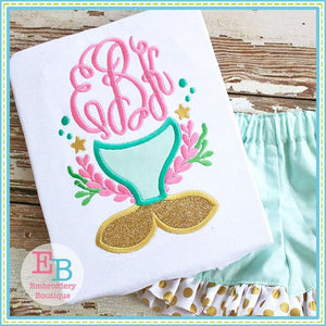 Mermaid Tail Scene Applique - embroidery-boutique