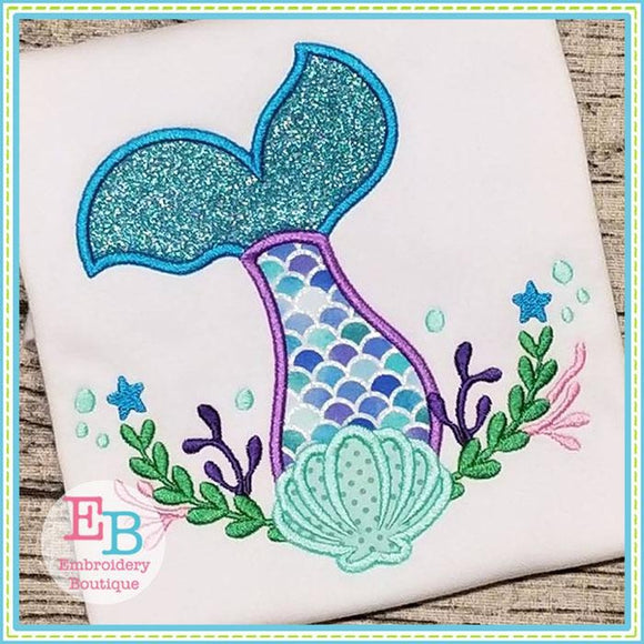 Mermaid Tail Swag Applique - embroidery-boutique