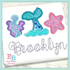 Mermaid Tail Trio Applique - Embroidery Boutique