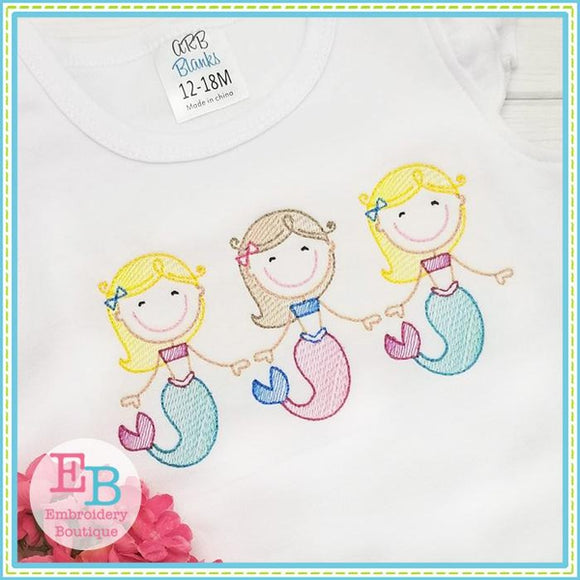 Mermaid Trio Sketch Design - embroidery-boutique