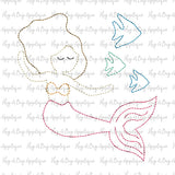 Mermaid Fish Bean Stitch Applique Design-Embroidery Boutique