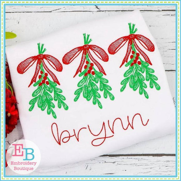 Mistletoe Trio Design - embroidery-boutique