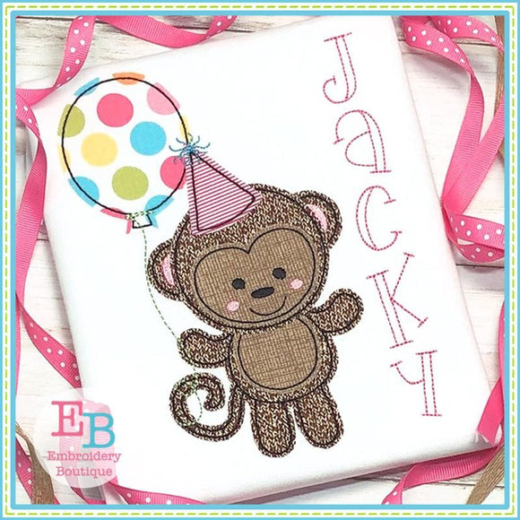 Birthday Monkey Applique, Applique