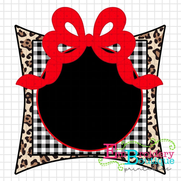 Monogram Frame Bow Printable Design PNG