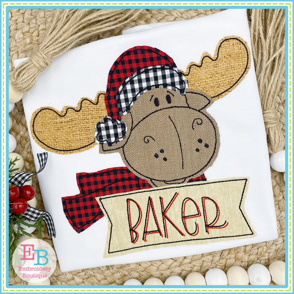 Winter Moose Face Bean Stitch Applique, Applique