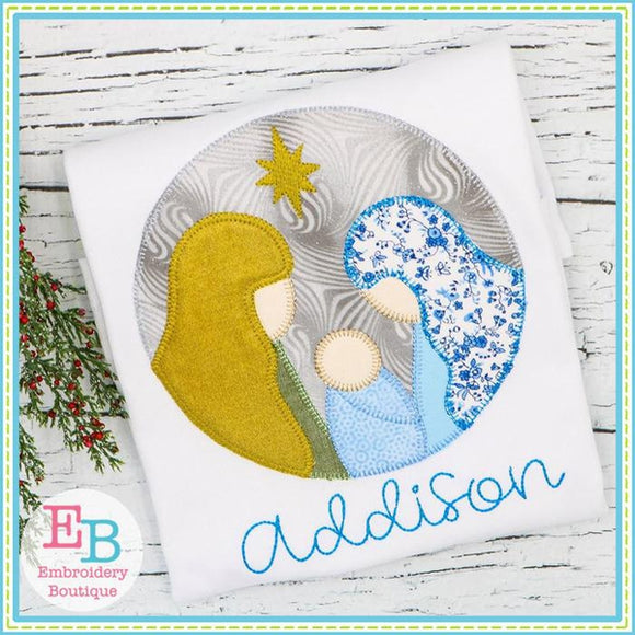 Nativity Circle Applique - embroidery-boutique