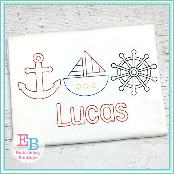 Nautical Trio Design, Embroidery