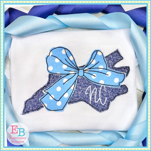 Big Bow North Carolina Bean Stitch Applique, Applique