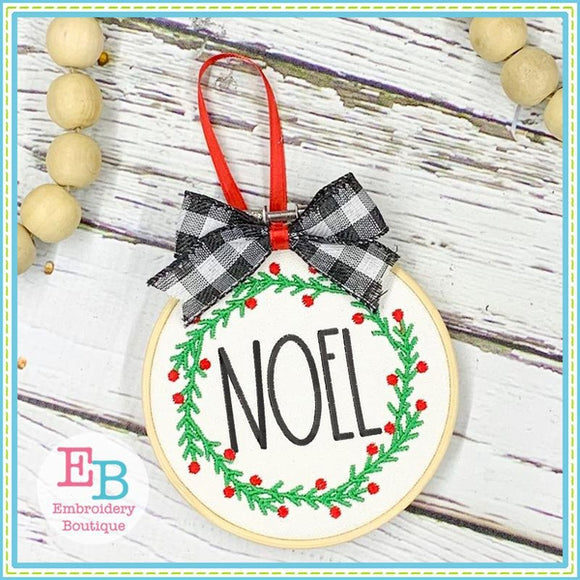 Noel Wreath Embroidery Design, Embroidery